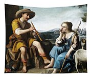 Pastoral Scene With A Shepherd Family Against A Countryside Background Tapestry