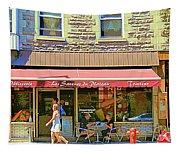 Patisserie Les Saveurs Du Plateau Pique Nique Et Emporter Montreal Cafe Scene Art By Carole Spandau  Tapestry