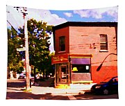 Paul Patate Pointe St Charles South West Montreal Autumn Street Scene Carole Spandau Tapestry