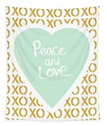 Peace And Love In Aqua And Gold Tapestry by Linda Woods