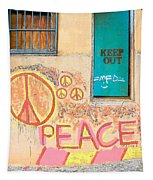 Hippie Graffiti - Peace But Keep Out Tapestry