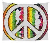 Peace Sign Fruits And Vegetables Tapestry