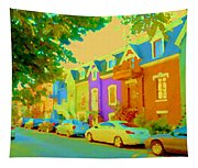 Peaceful Painted Pastel Rowhouses Printemps Plateau Montreal Scene Du Rue Carole Spandau Tapestry