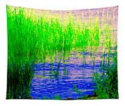 Peaceful Stream  Quebec Landscape Art Tall Grasses At The Lakeshore Waterscene Carole Spandau Tapestry