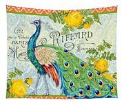 Peacocks In The Rose Garden-3 Tapestry