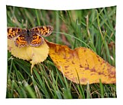 Pearl Crescent Butterfly On Yellow Leaf Tapestry