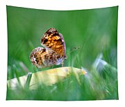 Pearl Crescent Butterfly Square Grass Tapestry