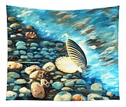Pebble Beach And Shells Tapestry