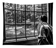 Peering Out The Window Bw Tapestry