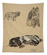 Pekinese, Chow And Spaniel, 1930 Tapestry