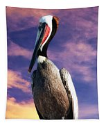 Pelican At Sunset Tapestry