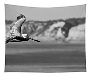 Pelican In Black And White Tapestry