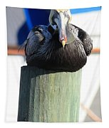 Pelican On Piling Tapestry