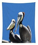 Pelican Pair At Oceanside Pier Tapestry