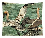Pelican Take Off Two Tapestry