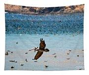 Pelicans Flocking On The Ocean Tapestry