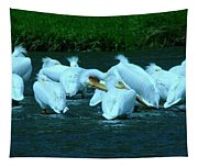 Pelicans Hanging Out Tapestry