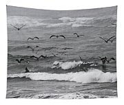 Pelicans Lunching At Ft. Stevens Oregon Tapestry