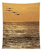 Pelicans Ocean And Sunsetting Tapestry