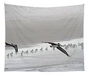 Pelicans Off For A Foggy Day Of Fishing Tapestry