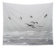 Pelicans On A Windy Foggy Day On The Oregon Coast Tapestry