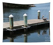 Pelicans On Dock In Florida Tapestry