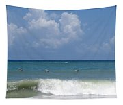 Pelicans Over The Ocean Tapestry
