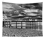 Penarth Pier Panorama Monochrome Tapestry