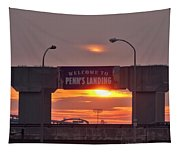 Penns Landing Arch At Sunrise Tapestry