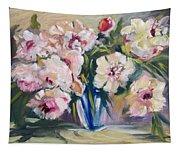 Peons In Blue Vase Tapestry