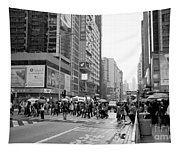 People Crossing The Street On A Rainy Day In Mong Kok Hong Kong Tapestry
