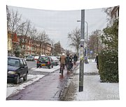 People On Bicycles In Winter Tapestry