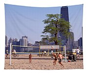 People Playing Beach Volleyball Tapestry