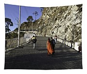 People Walking On The Path Leading To Shrine Of Vaishno Devi Tapestry