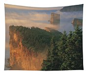 Perce Rock And The Three Sisters In Fog Tapestry