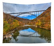 Perfect Reflections Of The New River Gorge Bridge Tapestry
