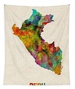 Peru Watercolor Map Tapestry