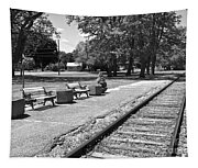 Phelps Ny Train Station In Black And White Tapestry