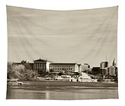 Philadelphia Art Museum With Cityscape In Sepia Tapestry