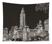 Philadelphia City Hall Mono Tapestry