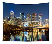 Philadelphia Cityscape Panorama By Night Tapestry