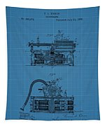Phonograph Blueprint Patent Drawing Tapestry