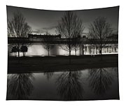 Piano Pavilion Bw Reflections Tapestry