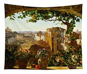 Piazza Barberini In Rome Tapestry