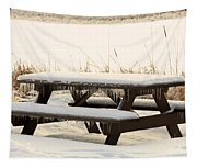 Picnic Table In Winter Tapestry