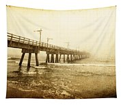 Pier In A Storm Tapestry