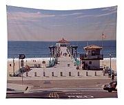 Pier Over An Ocean, Manhattan Beach Tapestry