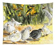 Pigeons In Benidorm Tapestry