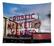 Pike Place Public Market Neon Sign Tapestry