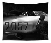 Pilot And His Airplane In The Hangar Tapestry